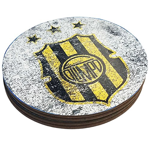 fan products of Four Round Coasters Glossy Custom Paint Effect Argentina Futbol Soccer Olimpo Bahia Blanca