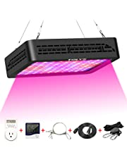 Plant Grow Light,Tolys Double Switch 1000W LED Grow Lights with Timer and Thermometer Humidity Monitor, with Adjustable Rope, Full Spectrum Grow Lamps for Indoor Plants Veg and Flower(Black)