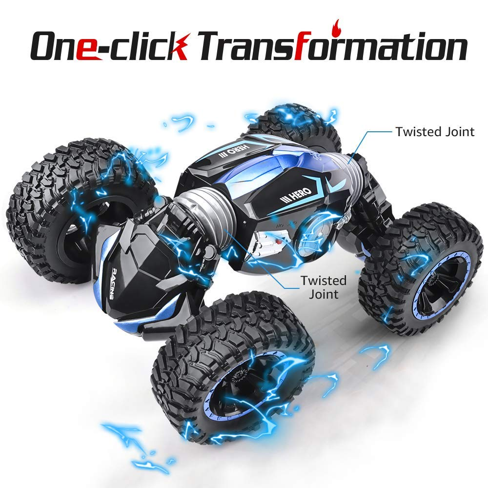 NQD RC Car Off-Road Vehicles Rock Crawler 2.4Ghz Remote Control Car Monster Truck 4WD Dual Motors Electric Racing Car, Kids Toys RTR Rechargeable Buggy Hobby Car (Blue) by NQD (Image #3)