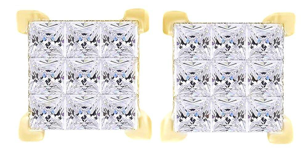 1,5 Karat Prinzessschliff Weißszlig; natürlicher Diamant Quadratisch Ohrstecker in 14 ct 585 Massiv Weißszlig; Gold 14 Karat (585) GelbGold