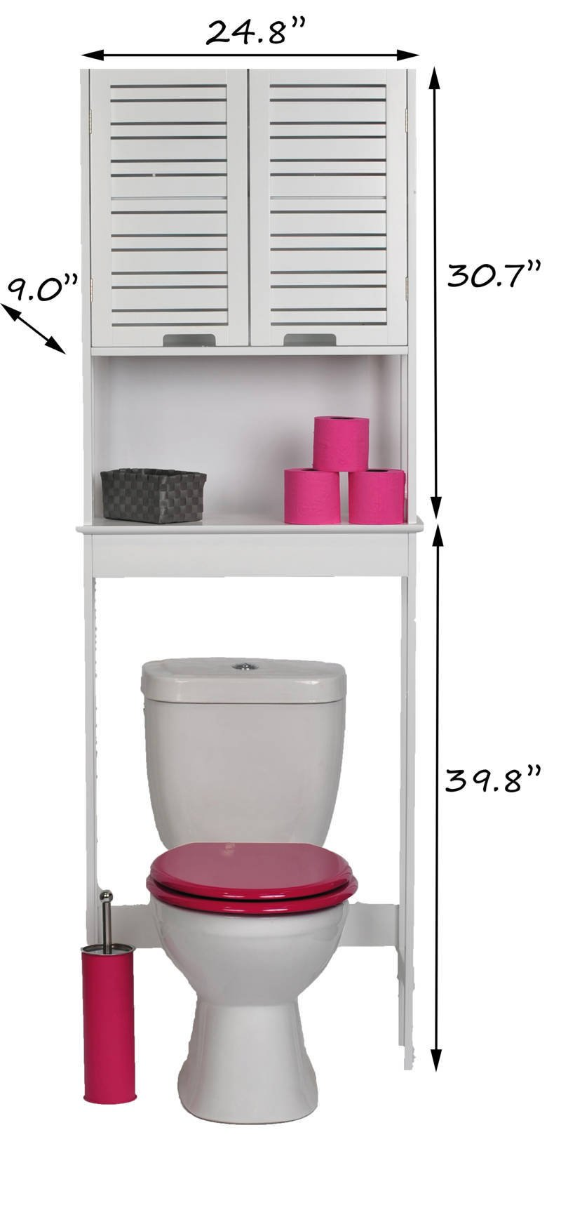 EVIDECO Over The Toilet Space Saver Cabinet Bathroom Furniture 70.5''H X 24.8''L (white) by EVIDECO