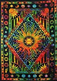 Psychedelic Celestial Sun Moon tapestry Planet Bohemian Tapestry/Wall Hanging Dorm Decor Boho Tapestry/Hippie Hippy Tapestry Beach Coverlet Curtain (Twin (55 X 85 inches approx), Multi Color)