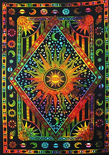 Psychedelic Celestial Sun Moon tapestry Planet Bohemian Tapestry/Wall Hanging Dorm Decor Boho Tapestry/Hippie Hippy Tapestry Beach Coverlet Curtain (Twin (55 X 85 inches approx), Multi Color) by Jaipur Handloom