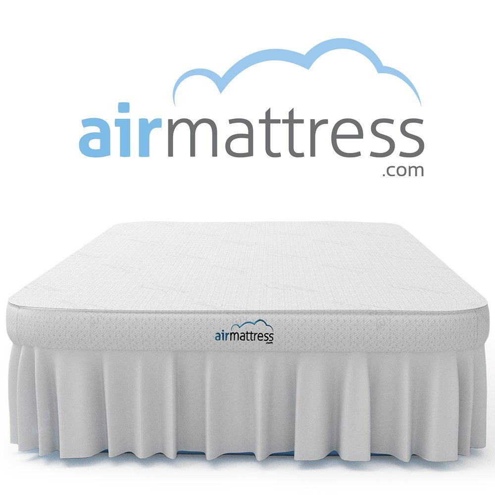 Air Mattress QUEEN SIZE - Best Choice RAISED Inflatable Bed with Fitted Sheet and Bed Skirt - Built-in High Capacity Airbed Pump (Queen)