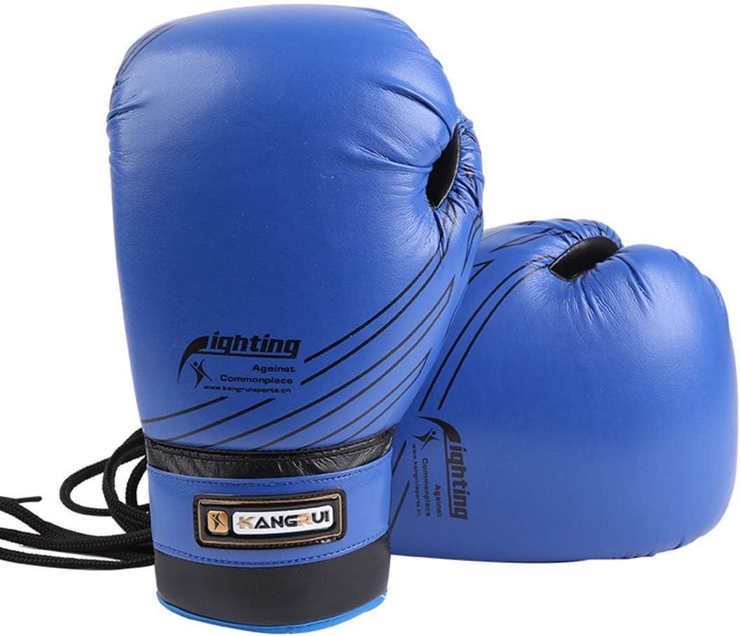 Wazenku ハイクオリティタイアップスタイル10オンスパーソナリティレザーボクシングトレーニンググローブメンズヘビーな袋を打ち抜く女性MMAはスプラーリングのためのジェルを注入しますキックボクシングMitts Muayタイ (色 : 青) 青