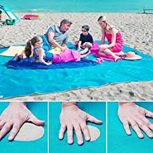 Sand Free Beach Blanket, Sandless Outdoor Picnic Camping Mat, Fast Dry, Easy to Clean Perfect for the Beach, Picnic, Camping, Outdoor Events (200 X 200 CM, Blue)
