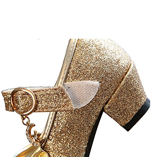 Kikiz Little Girl's Adorable Sparkle Mary Jane Side Bow Strap Low Heels Princess Dress Shoes