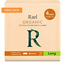Rael 100% orgánico algodón largo Panty Liners–Unscented–Protegeslips–Natural diario–Protegeslips