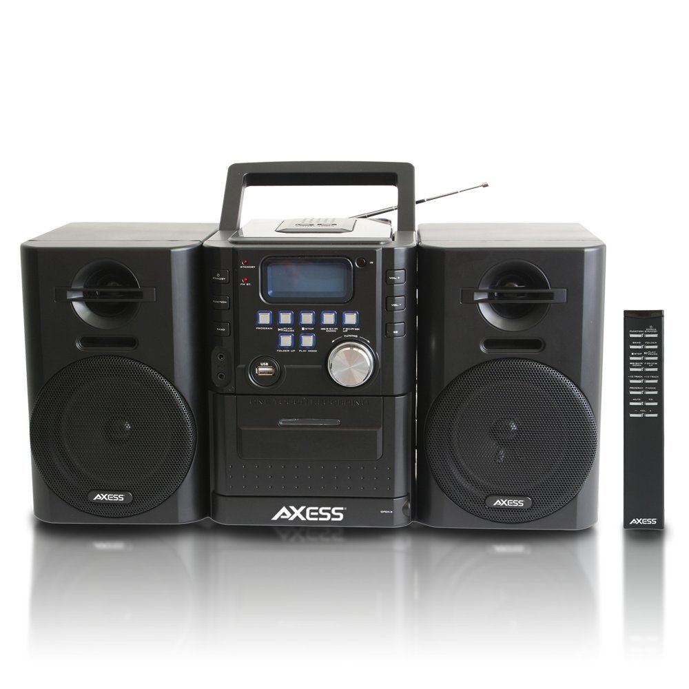AXESS MS3912 Mini Entertainment System with AM/FM, USB, CD, MP3 Player & Cassette Recorder With Headphone and Aux Jack by Axess