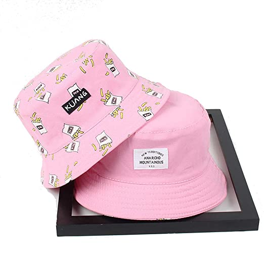 3f53fa3af5403 Llamazing Japanese Style French Fries Printing Pink Double-Sided Wear  Girls` Bucket Hat Fisherman