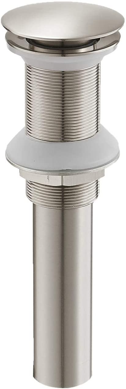 "Bathlavish Bathroom Faucet Vessel Vanity Sink Pop up Drain Stopper without Overflow Brushed Nickel Push & Seal Cupc Lead-Free Fits Bathroom Standard Sink Hole 1-1/2"" to 1-3/4"""