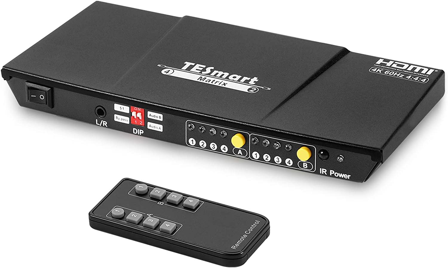 TESmart 4x2 HDMI Matrix Switch Splitter, 4K@60Hz HDMI Switcher Box, 4 in 2 Out with IR Remote Control Supports HDCP 2.2 18Gbps, Ultra HD 4K x 2K, 3D, 1080p, EDID, HDR Dolby Vision (Black)