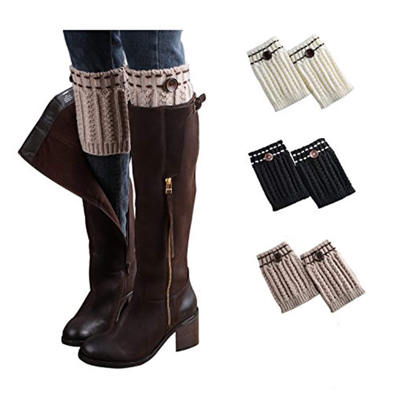 Bestjybt 3 Pairs Womens Short Boots Socks Crochet Knitted Boot Cuffs Leg Warmers Socks (3 Pairs-Style 04)