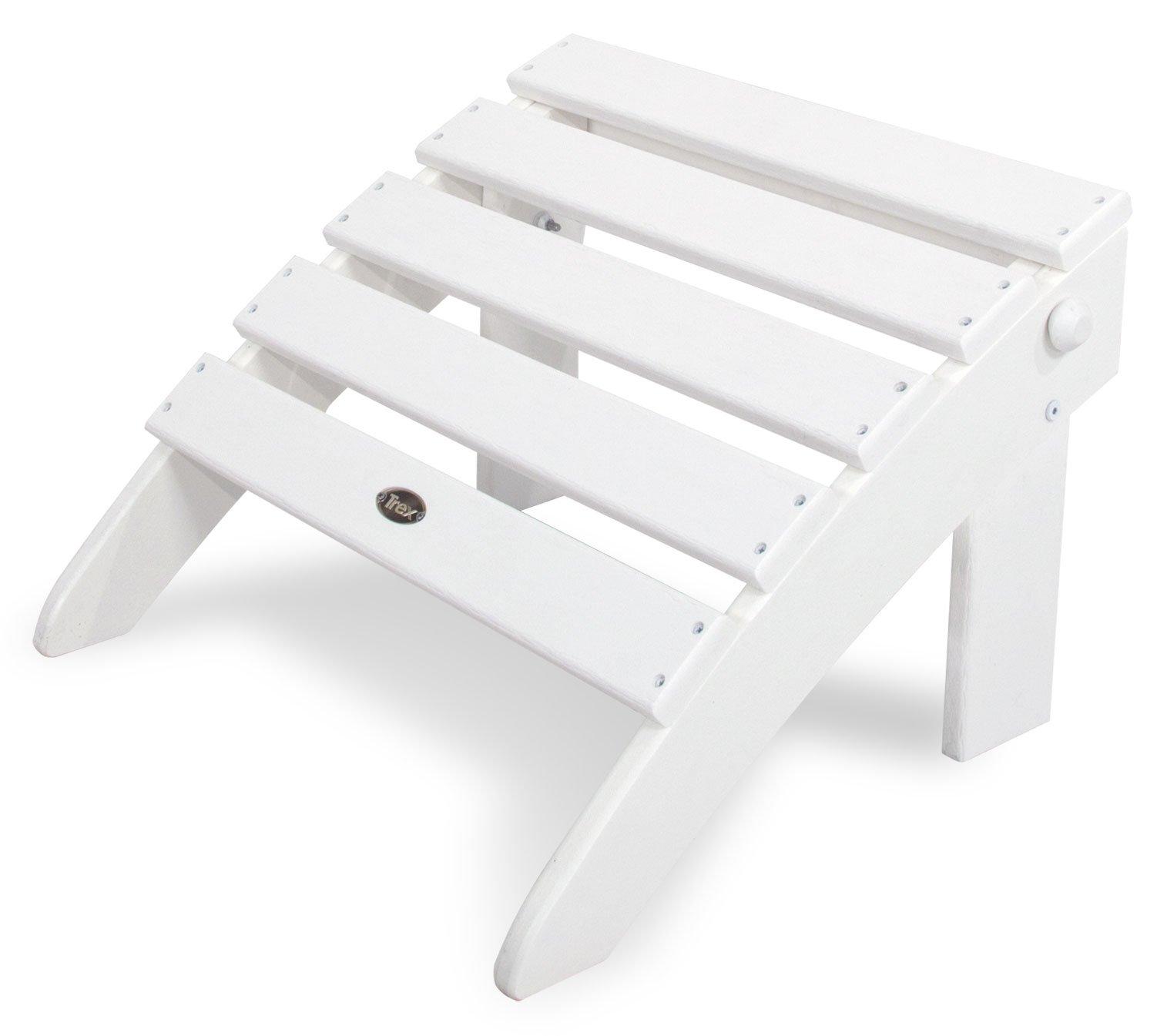 Trex Outdoor Furniture TXO53CW Cape Cod Folding Ottoman, Classic White