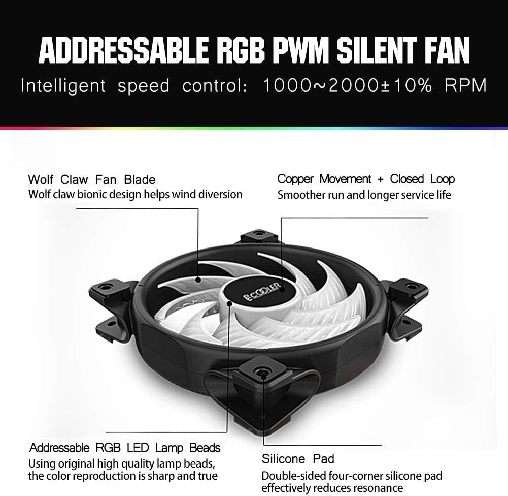 AMD Series E-Sports Plexiglass Top Cover Sync with ARGB Lights Pccooler GI-D56A CPU Cooler Dawn Series 5 Heat Pipes TDP160W Super Heat Dissipation for Intel i7//i5//i3 Silent PWM RGB Fan 120mm