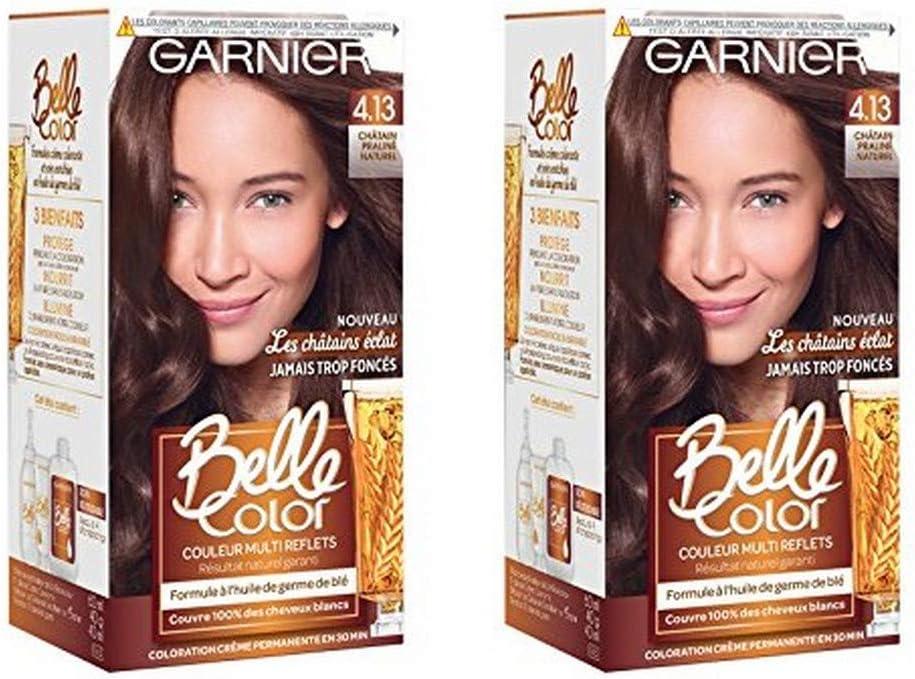 Garnier Belle Color c6062974 les Castaño Eclat 4.13 Castaño Medio Natural – Lote de 2