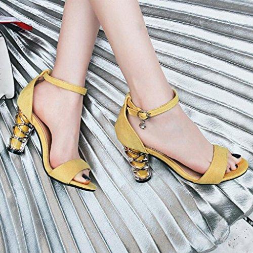 Sandalias abierta para de Tacones en tobillo mujer punta de T tirantes Yellow verano de Correa metal de de GAOLIXIA Bombas altos YxAtqw