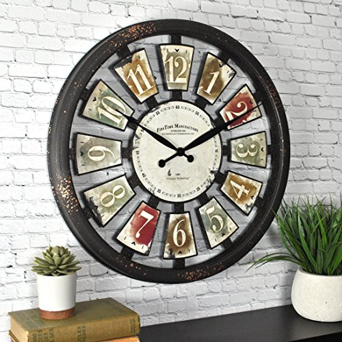 "FirsTime & Co. FirsTime ClockFirsTime Palette Plaques Wall Clock, 20"", Multicolor"