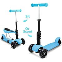 OUTCAMER Children Scooter Kids 3 Wheel Kick Scooter Adjustable Height Beginner Scooter with Removable & Adjustable Seat, T-Handlebar and LED Light Up Wheel for Children Boys Girls Aged 2-8 Years Old