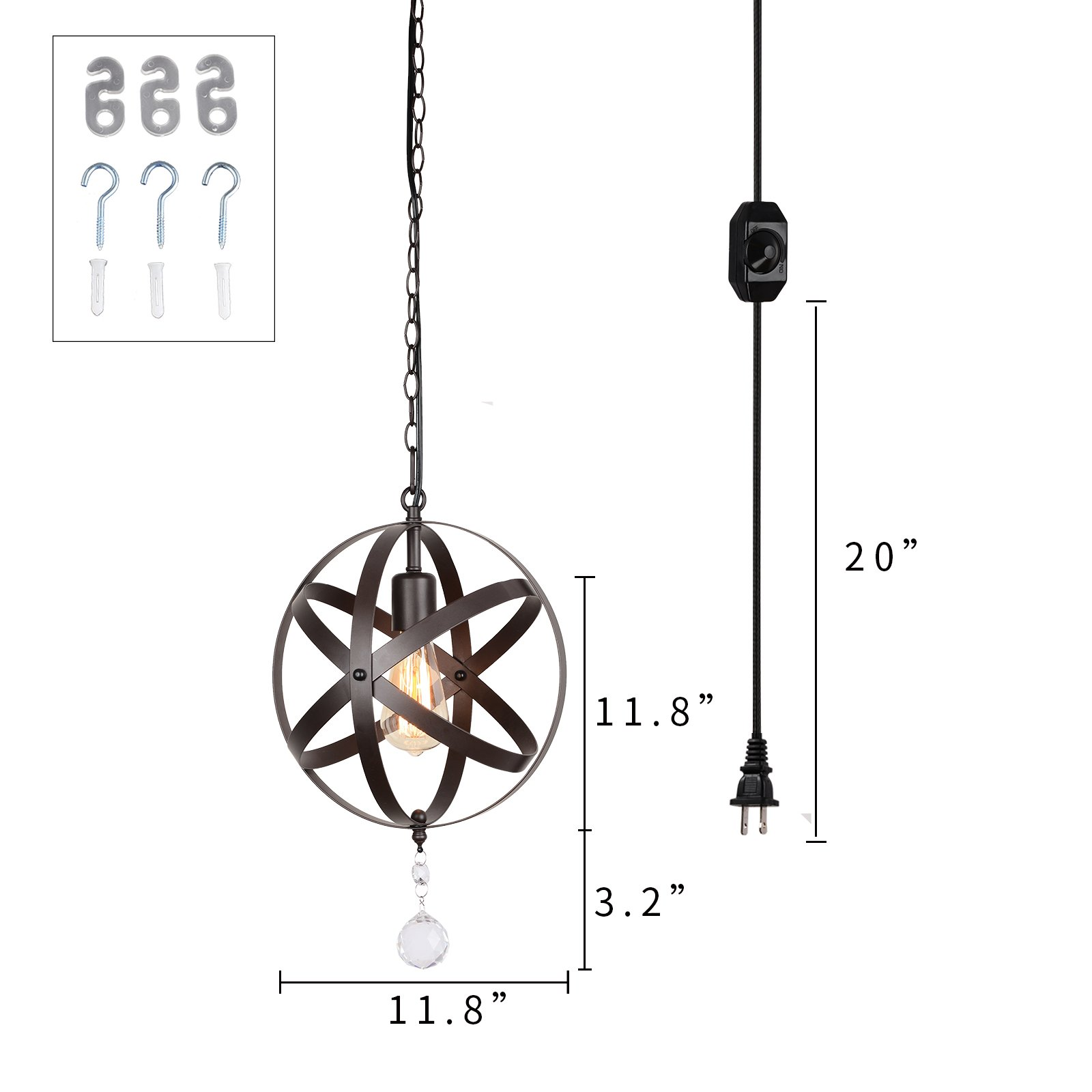 Creatgeek Industrial Globe Chandelier with 15 Ft Plug in Cord, Metal Hanging Chain and On/Off Dimmer Switch, Perfect Vintage Oil Rubbed Bronze Orb Swag Pendant Lights for Home Decor by Creatgeek (Image #7)