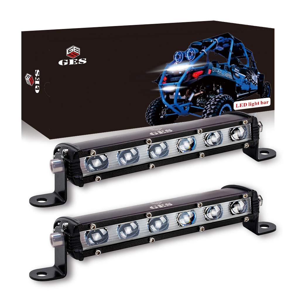 GES 2Pcs 4Inch 120W Pod Flood Spotlight Off Road Lights Fog Lights for SUV Jeep Trucks ATV Cars Waterproof LED Light Bars with Wring Harness
