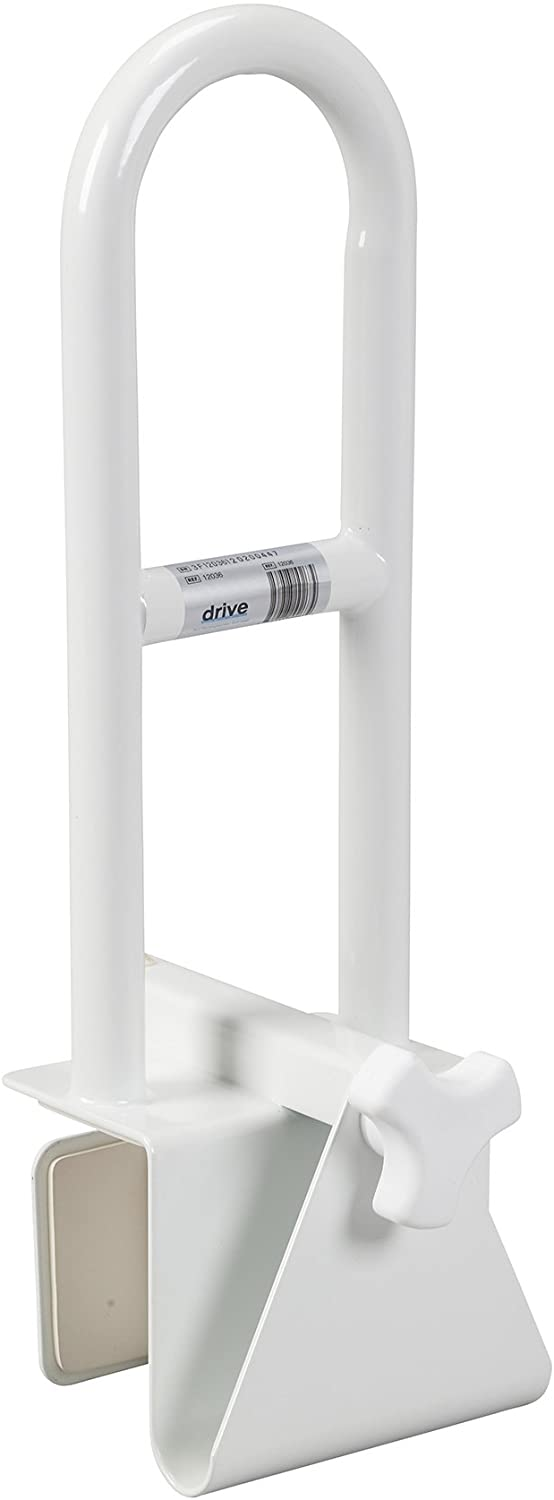 Drive Medical Steel Clamp on Tub Rail, White: Health & Personal Care