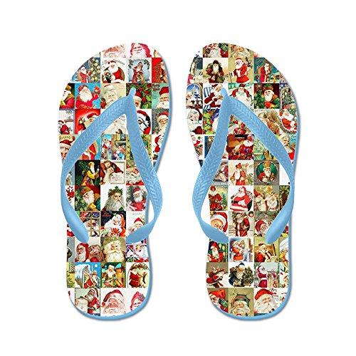 CafePress Many Many Santas - Flip Flops, Funny Thong Sandals, Beach Sandals Caribbean Blue