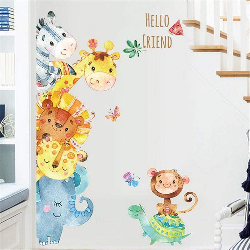 KUNAW 3D Cartoon Animals Wall Stickers DIY Removable Refrigerator Children Mural Decals for Kids Rooms Baby Bedroom Wardrobe Door Decoration Background Animal