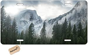 Amcove Yosemite National Park Nature Mountain Trees Mist Decorative Car Front License Plate,Vanity Tag,Metal Car Plate,Aluminum Novelty License Plate for Men/Women/Boy/Girls Car,6 X 12 Inch