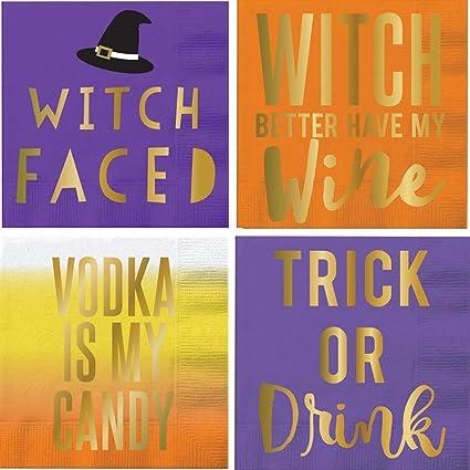 Servilletas De Cóctel Para Halloween Frases Divertidas