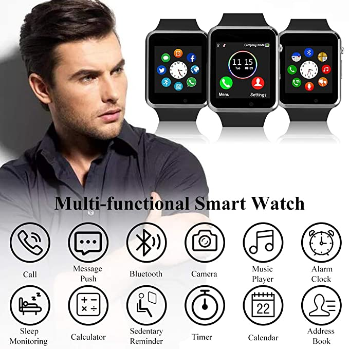 Smart Watch, Bluetooth Smartwatch with SIM SD Card Slot Call Message Camera Music Play Pedometer Smart Watches Compatible with Android and iOS ...