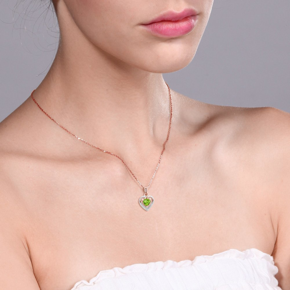 10K White Gold Heart Shape Green Peridot and Diamond Pendant Earrings Set by Gem Stone King (Image #4)