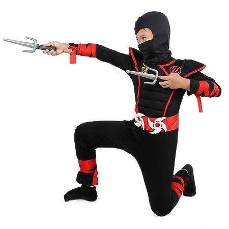 Tacobear Disfraz de Power Ninja para Niño Disfraz Infantil de Halloween Negro y Rojo 4-13 años (S (3 – 4))