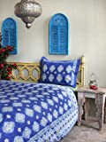 Casablanca Blues - Blue Queen Duvet Cover, 90x90 - French, Moroccan Inspiration - Hand Printed