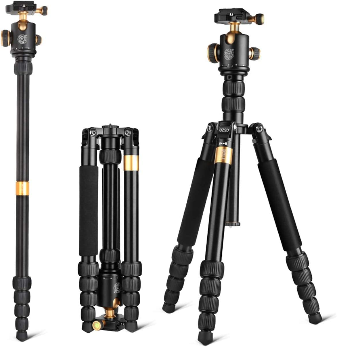 "Color : Black LLluckyHW DSLR Tripod Portable Tripod 360 Degree Panorama Ball Head Panoramic Shooting Flexible Sturdy Legs Tripod Camera Tripod 62/"" Use as Camera Tripod Lightweight Aluminum"