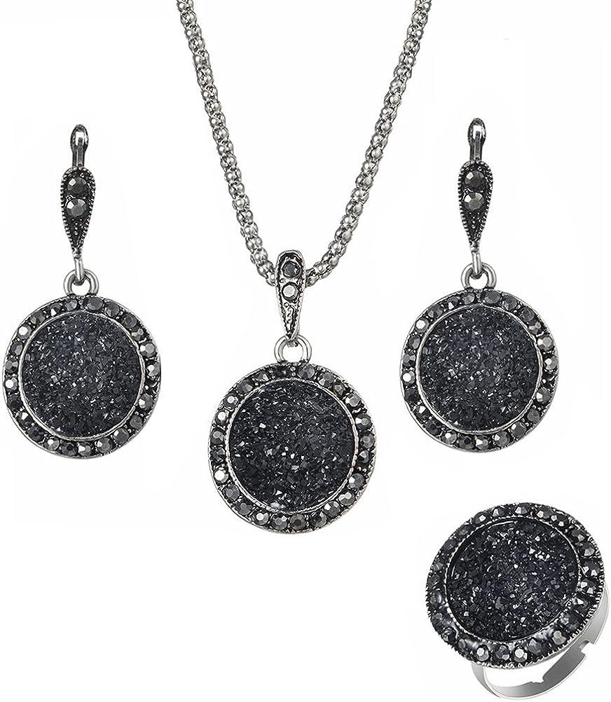 OULII 4PCS conjunto de joyas negro con Drusy Rhinestone colgante collar pendientes anillo para mujer
