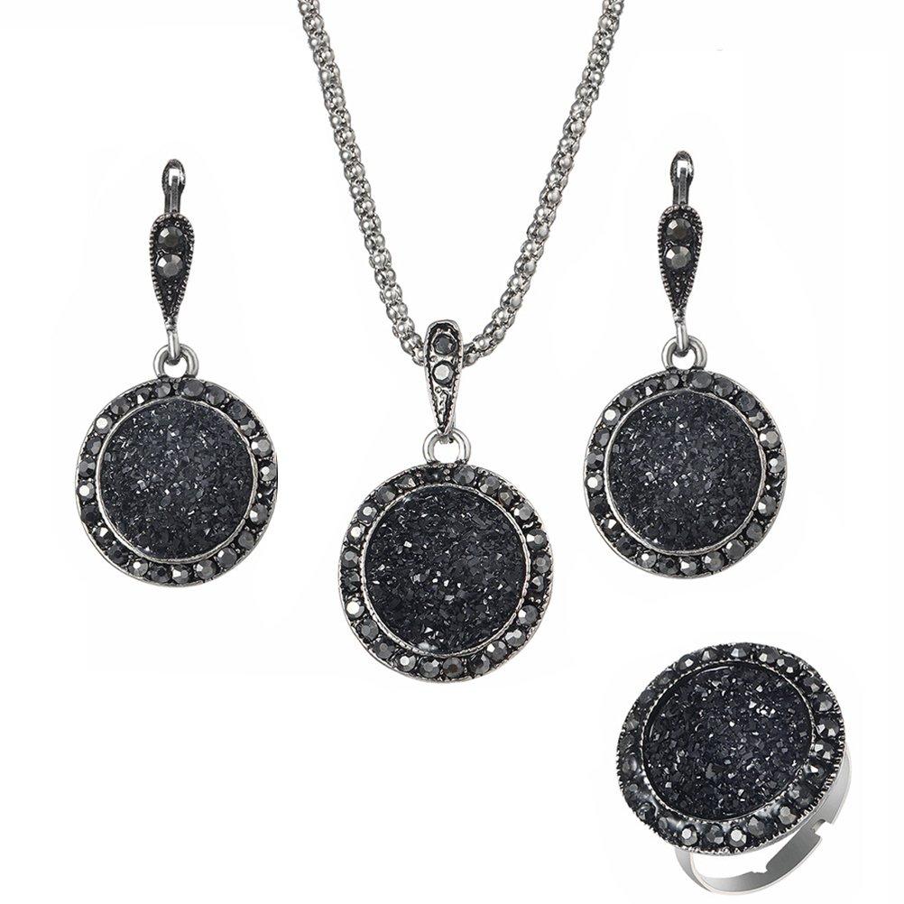 OULII SET Collana Orecchini Anello con ciondoli di pietra rotonda nera e strass per regalo di festa della Mamma