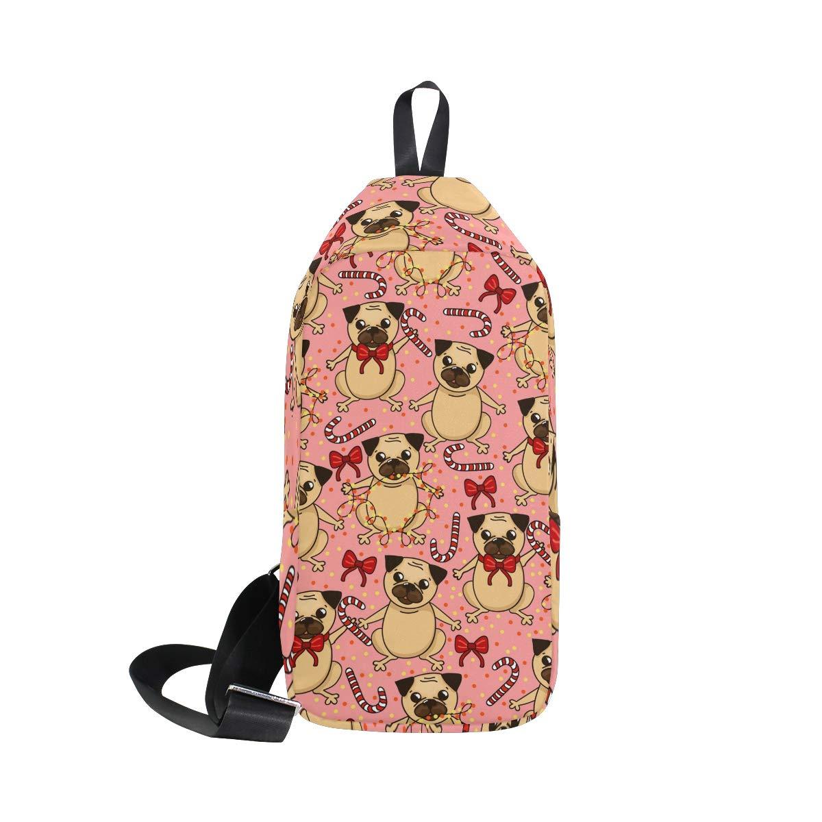 TFONE Cute Pug Dog Crossbody Bag Lightweight Chest Shoulder Messenger Pack Backpack Sling Bag