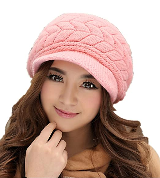 052b29a2825cb1 Mullsan Womens Chunky Knit Slouchy Beanie Beret (Pink) at Amazon ...