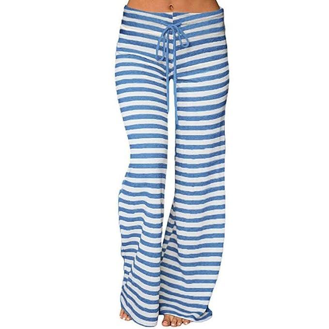 Honghu Mujeres con Cord¨®n Pantalones Sueltos de Rayas largas con Estampado Pantalones Anchos de Yoga Leg Palazzo Lounge Pantalones de Pijama
