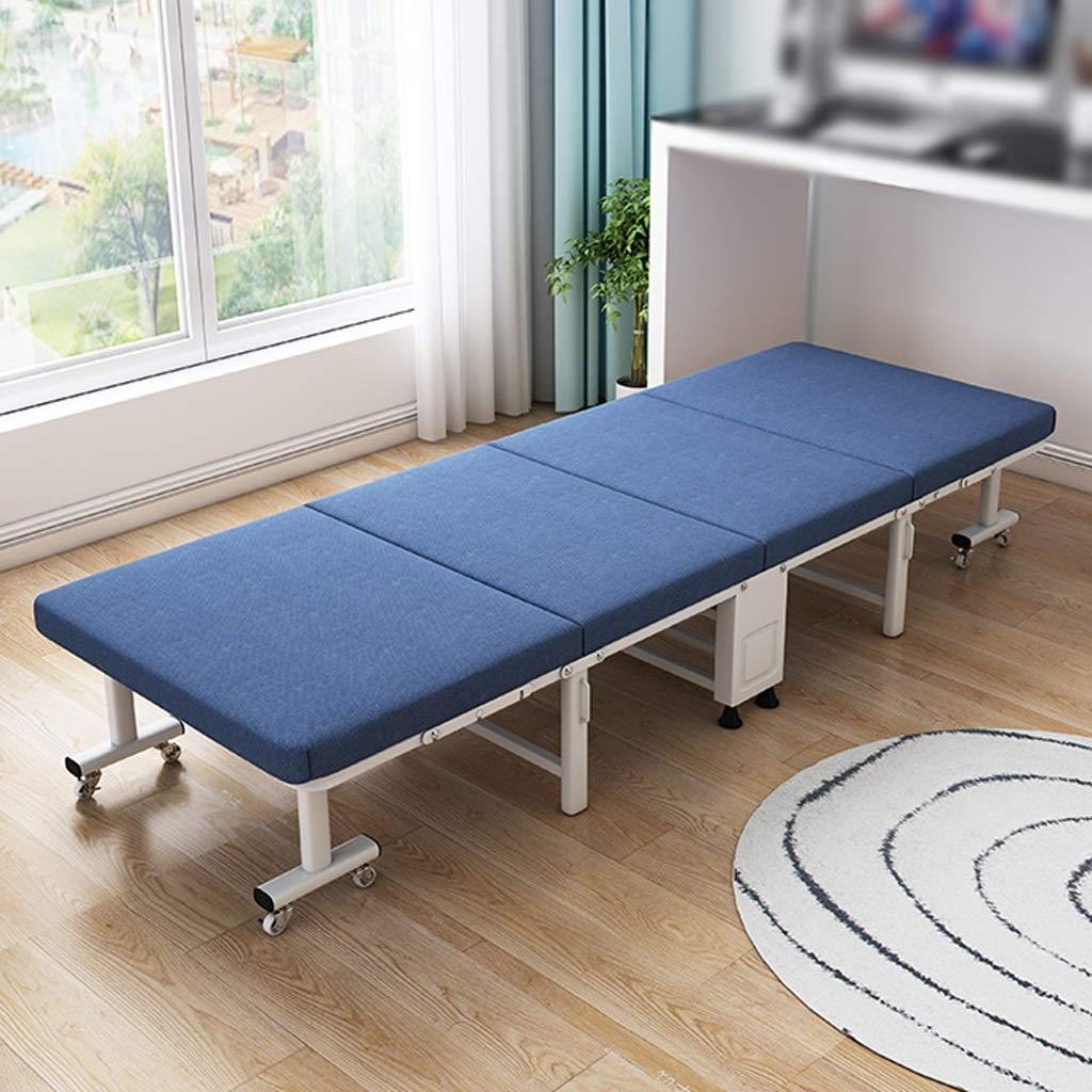 Schwamm Klappbett Erwachsenen Rest Escort Office Single Mittagspause Siesta Bett (Color : Blue, Size : 80cm Wide)