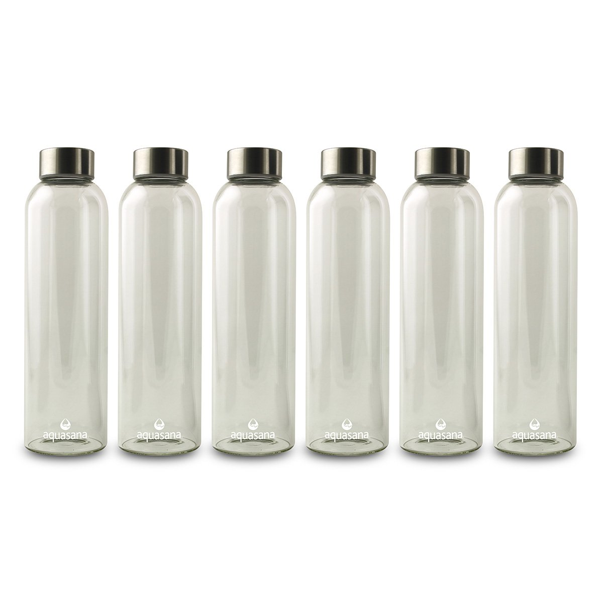 Aquasana Premium Borosilicate Glass Water Bottles and BPA Free Lid with Stainless Steel Cover, 550ml, 6-pack