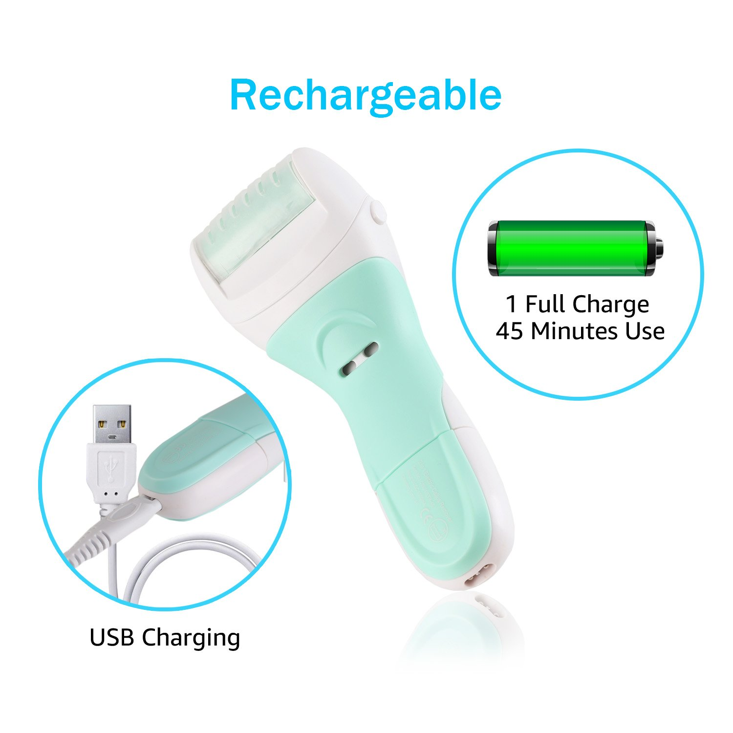 Electronic Foot File Pedicure Tools, Wet & Dry Electric Callus Remover Rechargeable Cordless Waterproof with 2 Heads to Remove Dead/Hard/Dry/Rough/Cracked Skin & Polish Nails Effectively - Sissely by Sissely (Image #5)