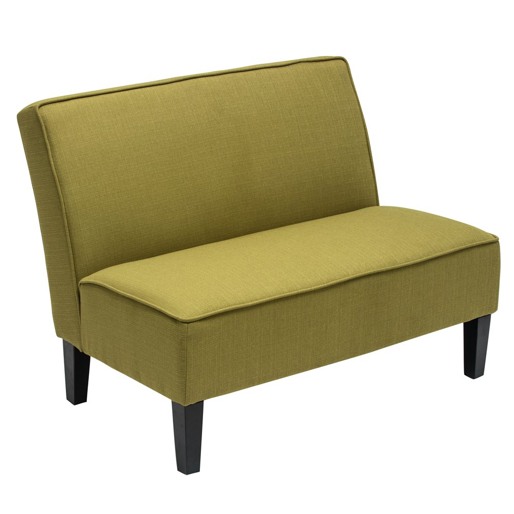 Amazon com changjie cushioned linen armless settee loveseat sofa couch home casual living room recliner green kitchen dining