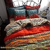 LELVA Boho Style Duvet Cover Set Colorful Stripe Sheet Sets Bohemia Bedding Set Baroque Style Bedding Cotton 6Pcs Twin Queen King (King, Fitted Sheet)