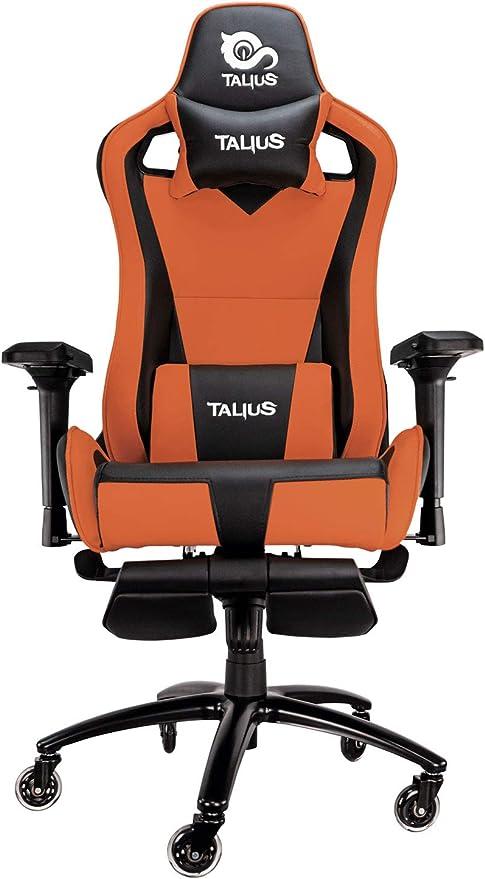 Todo para el streamer: Talius Caiman Silla Gaming Profesional con reposapiés Extraible, Inclinación y Altura Regulable, reposabrazos 4D Ajustables (Naranja)