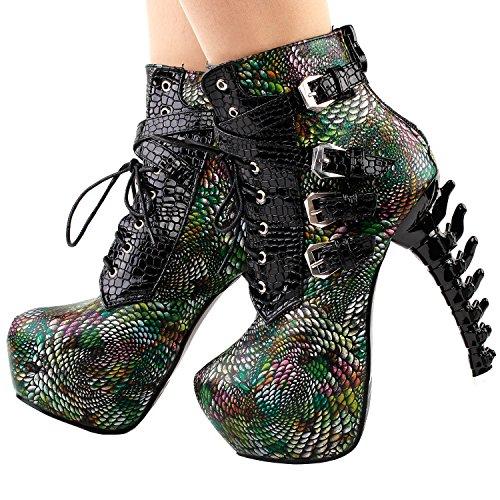 tacones historia de serpiente Lace impresión tobillo punk lf80648 Mostrar negro plataforma hueso de hebilla botas Verde hasta gdxPqPz