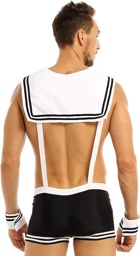Mens Sailor Costume Cosplay Underwear Boxer Briefs Collar+Cuffs Outfit Set Dress