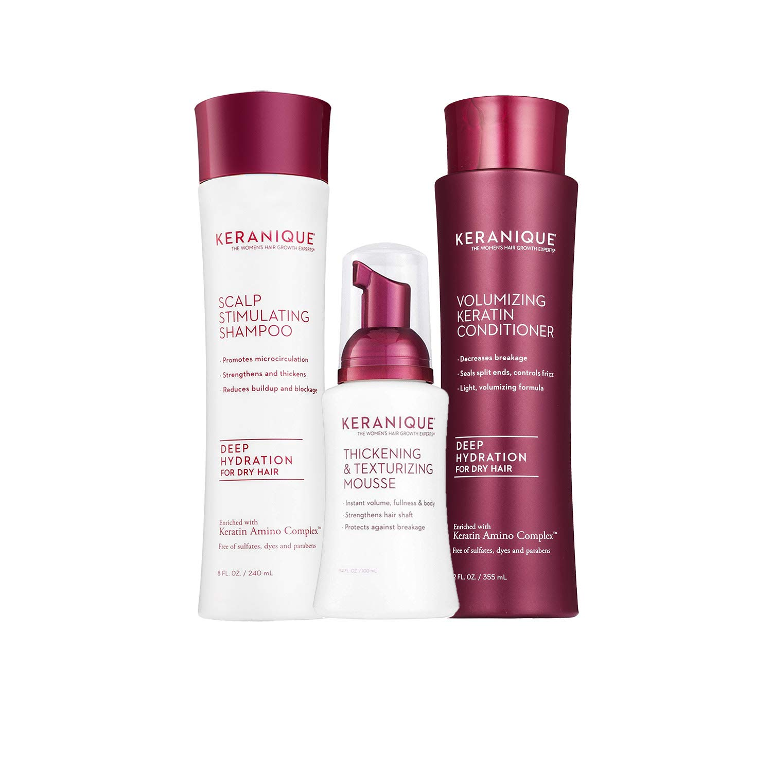 Keranique 60 Day Hair Thickening Kit - Deep Hydration | Shampoo, Conditioner, and Texturizing Mousse | Free of Sulfates, Dyes and Parabens | Improves Hair Texture | Maintains Body and Volume by Keranique