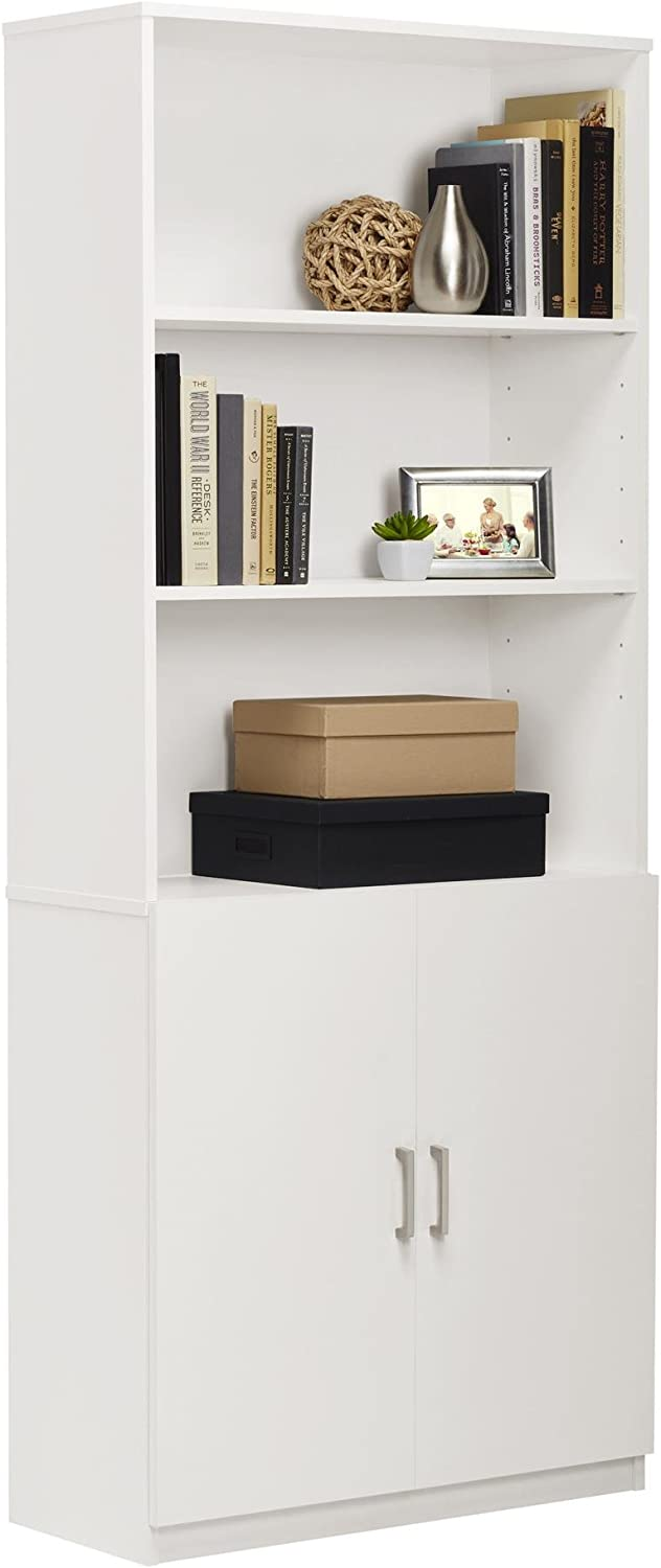 Ameriwood Home Moberly Bookcase with Doors, White